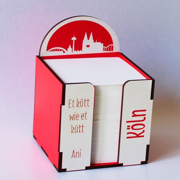 Notizblock Würfel Köln rot-weiß
