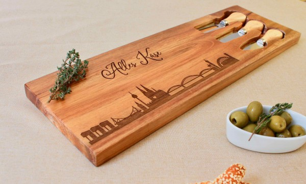 Käsebrett Geschenkset mit Messer Köln Skyline
