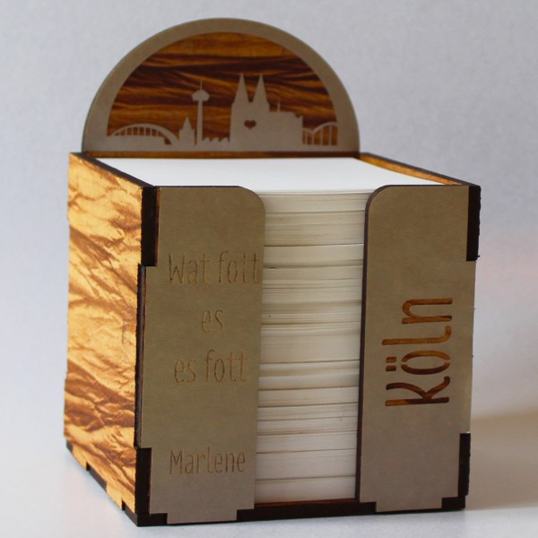 Kölner Dom Notizblock Würfel Holz Optik