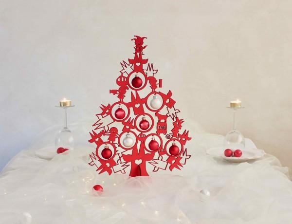 Köln Weihnachtsdeko Tannenbaum rot-weiß