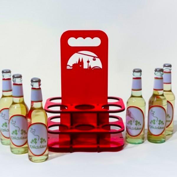 Flaschenträger TragBar Köln Skyline rot